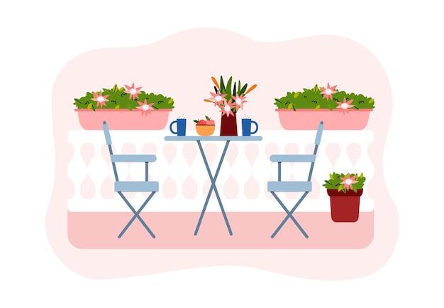 Balcão da cidade com flores desabrochando móveis de plantas em vasos verdes para descanso