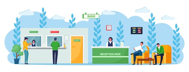 Balcão de recepção do banco com consultor gerente