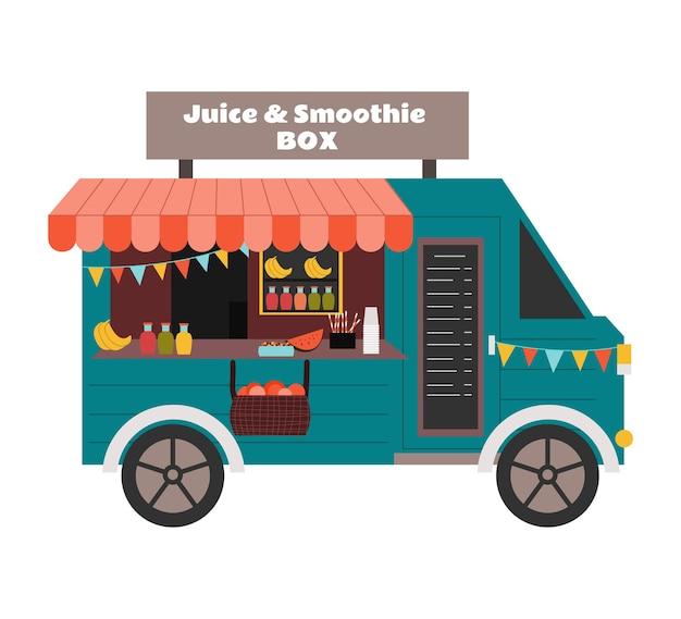 Balcão sobre rodas da loja de sucos naturais e smoothies de vans de rua transporte com bebidas saudáveis
