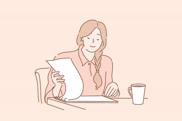 Balconista de escritório lendo o relatório, auditoria, contrato, conceito do negócio