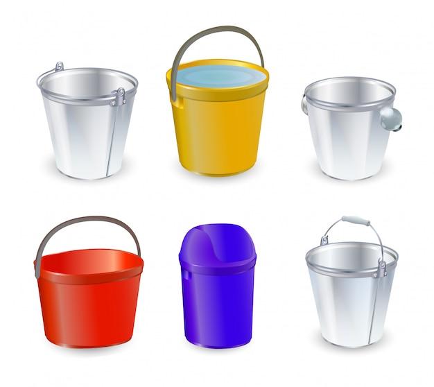 Balde, balde e balde de plástico bitbucket vazio ou com água balde no jardim e balde de lixo ou balde para jardinagem conjunto ilustração isolado em fundo transparente