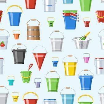 Balde balde ou balde de madeira e balde de plástico de crianças para brincar vazio ou com água balde no jardim e bitbucket para jardinagem definir ilustração sem costura de fundo