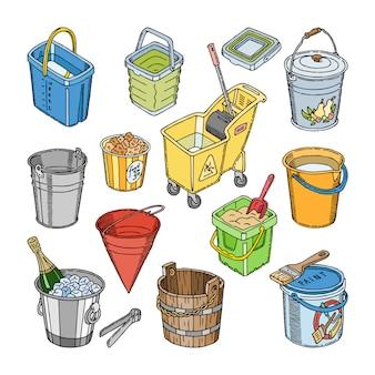 Balde balde ou balde de madeira e balde de plástico de crianças para jogar ilustração vazia balde conjunto de bitbucket com champanhe e recipiente de alimentos no fundo branco