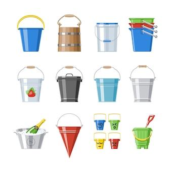 Balde balde ou balde de madeira e balde plástico de crianças para brincar vazio ou com água balde no jardim e bitbucket para jardinagem conjunto ilustração isolado no fundo branco