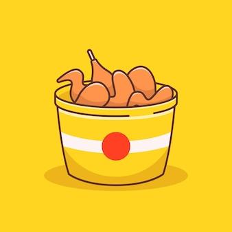 Balde cheio de ilustração de frango frito