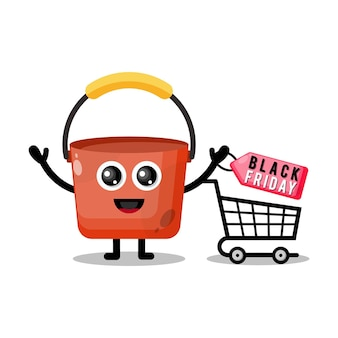 Balde de compras mascote personagem fofa sexta-feira negra