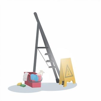 Balde de escada e piso molhado assinar o conceito de serviço de limpeza