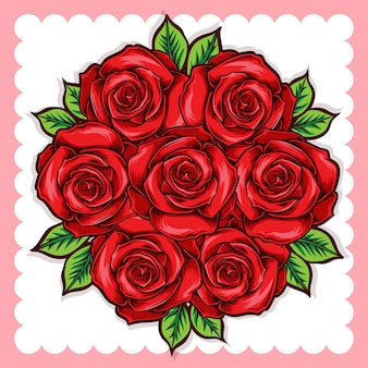 Balde de flores rosas