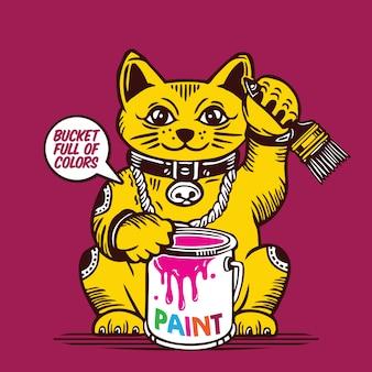 Balde de gato da sorte de tinta colorida e pincel maneki neko