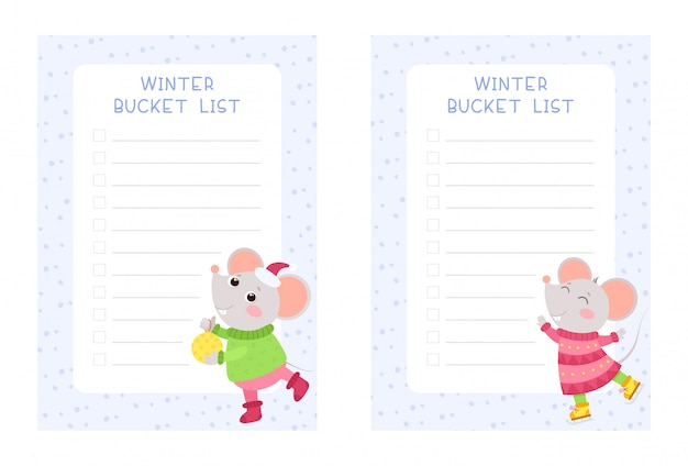 Balde de inverno lista conjunto de modelos de vetor plana. semanal e diariamente crianças planejador páginas desenhos pacote.