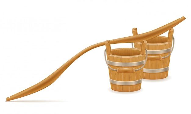 Balde de madeira e garfo com ilustração em vetor vintage retrô velho textura de madeira