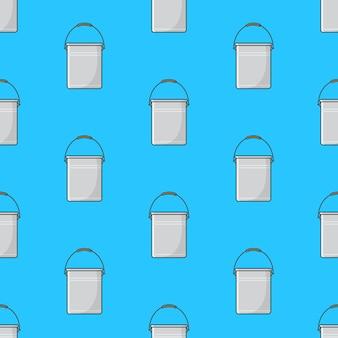 Balde de metal padrão sem emenda em um fundo azul. ilustração em vetor tema balde de metal