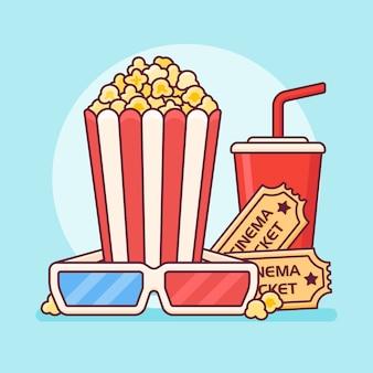 Balde de pipoca com copo de refrigerante, bilhetes e óculos 3d. design de linha plana de cinema.