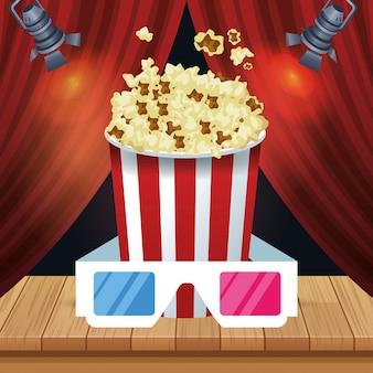 Balde de pipocas e óculos 3d sobre cortinas de teatro vermelho
