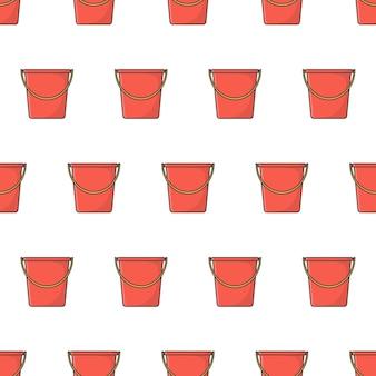 Balde de plástico padrão sem emenda em um fundo branco. ilustração em vetor tema balde