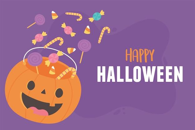 Balde em forma de abóbora feliz halloween com muitos doces ilustração