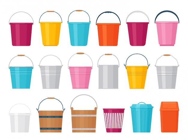 Balde. ilustração. plano . balde de plástico, metal e madeira.