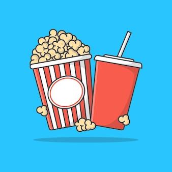 Balde listrado de pipoca com ilustração de ícone de xícara de refrigerante. ícone plano de filme de cinema