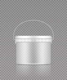Balde transparente vazio com maquete de alça de metal para design de embalagem de plástico