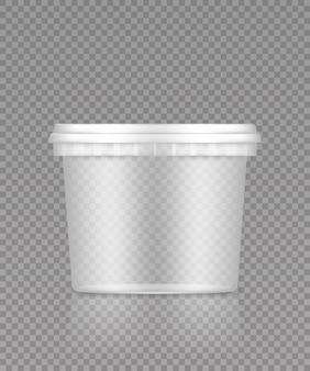 Balde transparente vazio com maquete de tampa para sorvete, iogurte, maionese, tinta ou massa