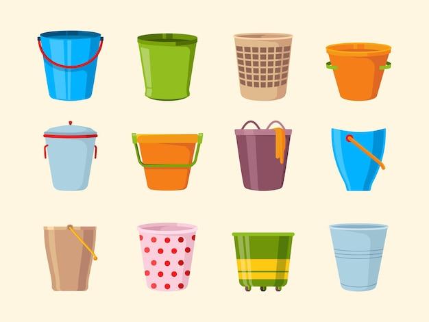 Balde vazio. recipientes de coleta de baldes de metal e plástico de madeira para coleta de vetor de lixo. recipiente ou cesto para lixo, ilustração de balde de metal