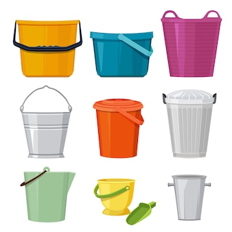 Baldes diferentes. conjunto de vetores isolado. ilustração de balde e recipiente, balde com alça