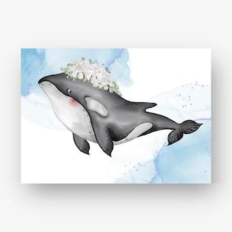 Baleia assassina fofa com ilustração em aquarela de flores brancas