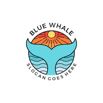 Baleia azul logotipo emblema símbolo ideia design gráfico