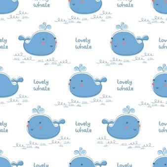Baleia azul pequena bonito e onda com a baleia bonita do texto.