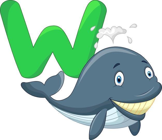 Baleia bonito dos desenhos animados com alfabeto