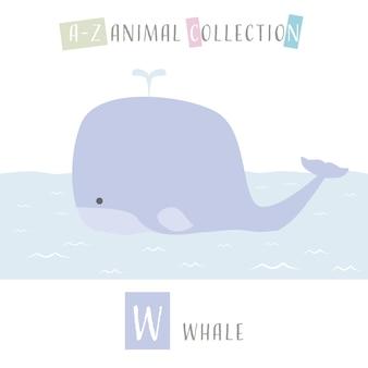 Baleia bonito dos desenhos animados doodle alfabeto animal w