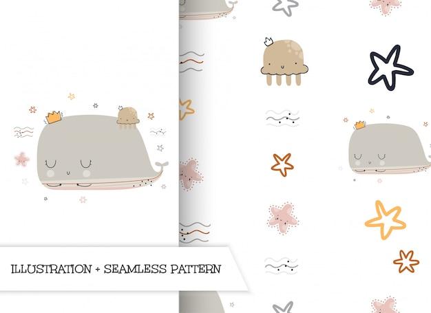 Baleia de ilustração plana bonito dos desenhos animados com padrão