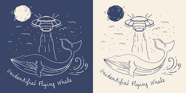 Baleia de linha mono com ilustração de ovni. baleia voadora não identificada.