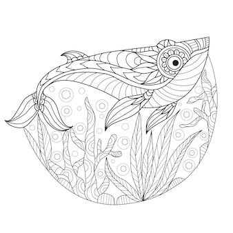 Baleia desenhada de mão sob o mar