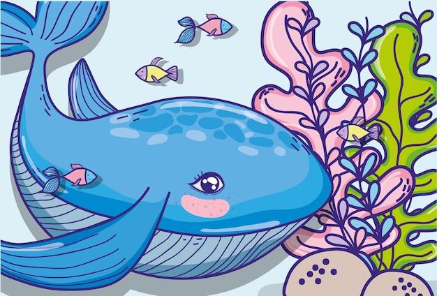 Baleia dos desenhos animados de animais submarinos