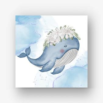 Baleia fofa com ilustração em aquarela de flor branca