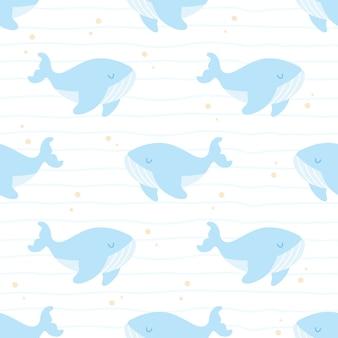 Baleia fofa nadando sem costura padrão