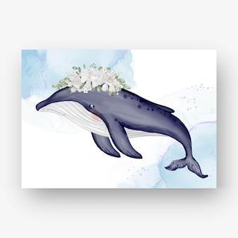 Baleia-jubarte fofa com ilustração em aquarela de flores brancas