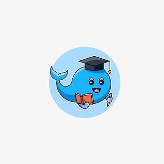 Baleia mascote dos desenhos animados bonito.