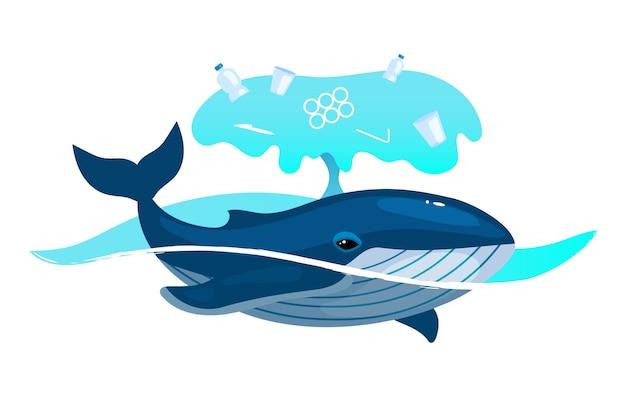 Baleia no oceano com ícone de conceito plano de resíduos de plástico. problema de poluição do meio ambiente. animal marinho e lixo na etiqueta da água do mar, clipart. ilustração isolada dos desenhos animados no fundo branco