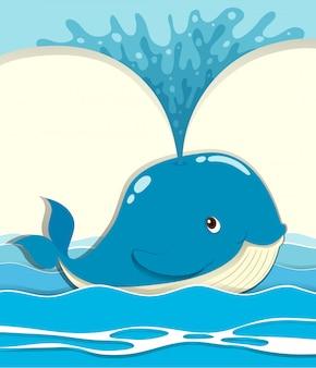 Baleia, salpicos, água, saída