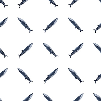 Baleia-sei sem costura padrão em fundo branco. modelo de personagem de desenho animado do oceano para tecido. textura diagonal geométrica repetida com cetáceos marinhos.