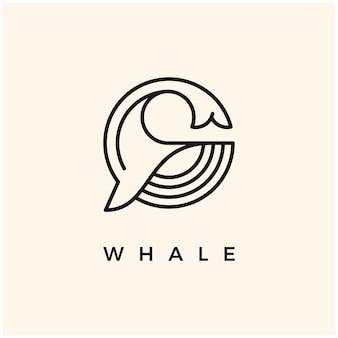 Baleia simples minimalista logotipo ícone símbolo