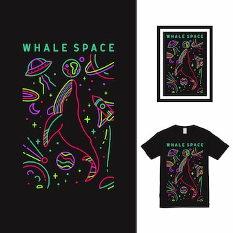 Baleia space line art t shirt design