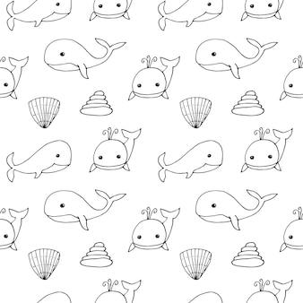 Baleias de padrão uniforme, ilustração vetorial, desenho à mão