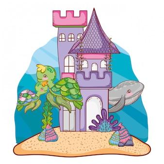 Baleias e tartarugas animais no clastle com plantas