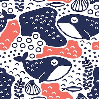 Baleias, padrão, desenho