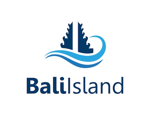 Bali gate e ocean wave simples, elegante, criativo, geométrico, moderno, logotipo