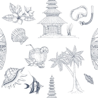 Bali hand drawn seamless pattern