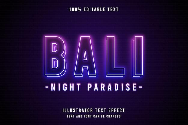 Bali night paradise, efeito de texto editável em 3d estilo de texto roxo gradação azul